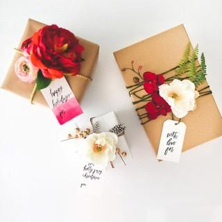DIY Gift Wrapping Ideas - Silk Flowers