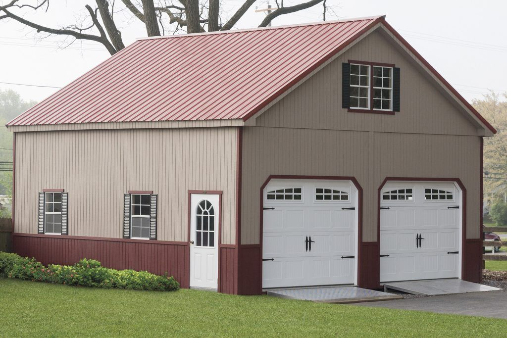 2 Story Double Wide Garage Wood Amish Backyard Structures Building A Garage Backyard Structures Two Story Garage