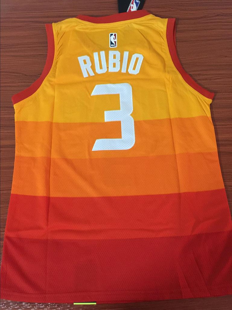 95fd88a66 Men 3 Rubio Jazz Jersey City edition Yellow Orange Utah Jazz Jersey Fanatics