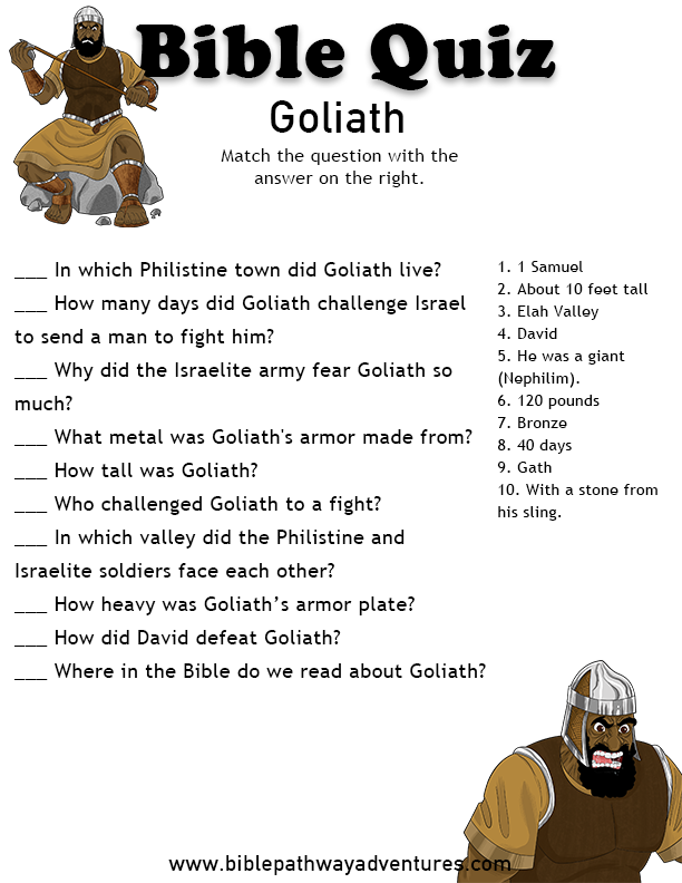 Enjoy our free Bible Quiz, Goliath. Helping parents and teachers teach their children more about the Bible. Feel free to share with others, too!