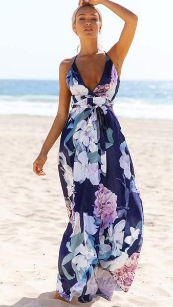 aacf13374e Sleeveless deep v-neck chiffon criss-cross open back floral print floor  length maxi dress Details Polyester Chiffon Imported Delicate Cold Wash  Fits True To ...