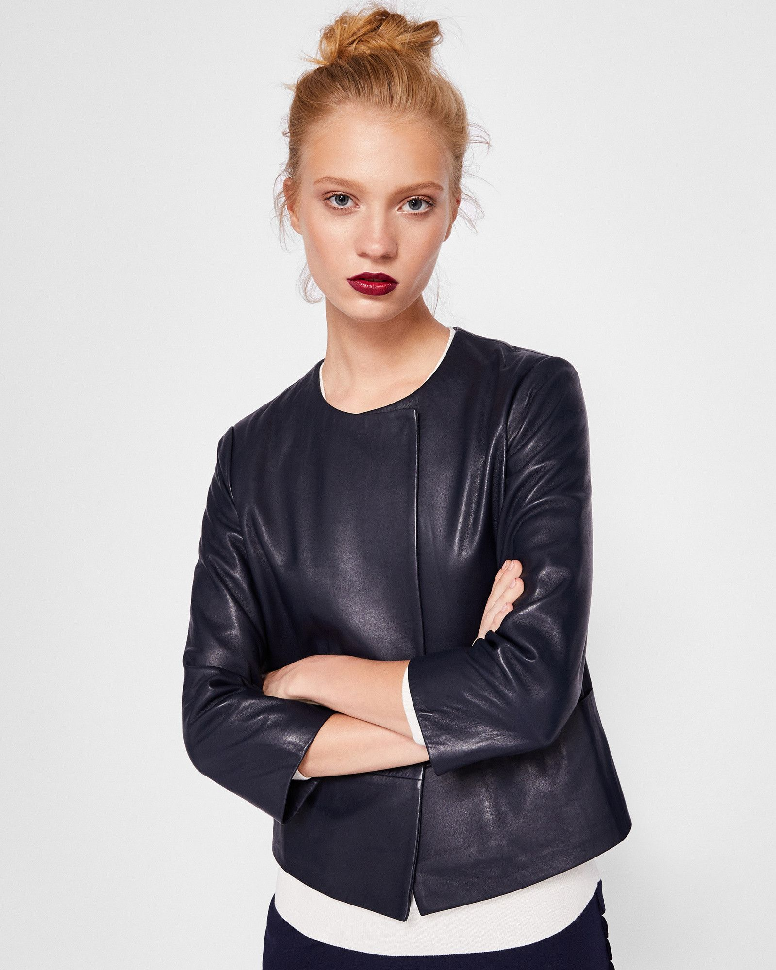 Rennay Leather Collarless Jacket Tedtotoe Collarless Leather Jacket Jackets Winter Coats Women [ 2000 x 1599 Pixel ]