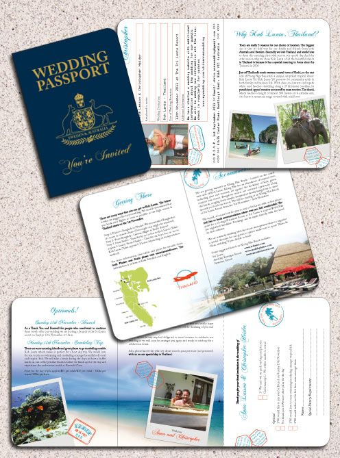 Thailand Passport Invitation with a customised Swedish/Australian Cover by www.DestinationStationery.com