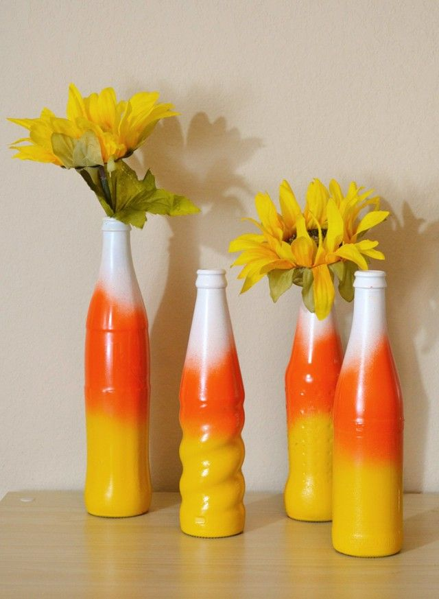 Diy Fall Candy Corn Bottle Vases Candy Corn Pop Bottles And Spray