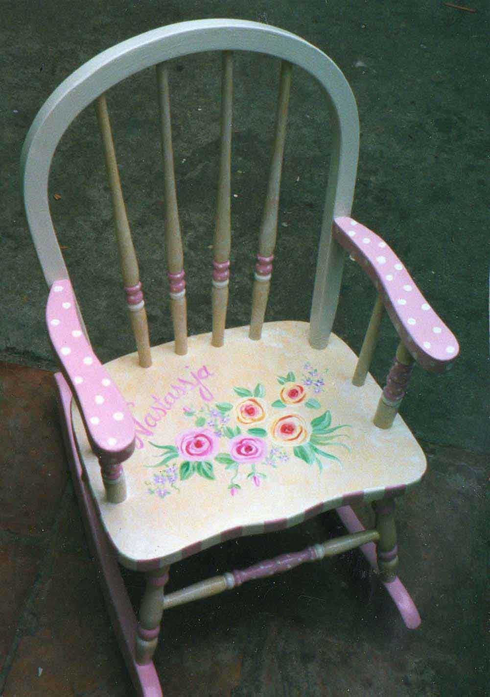 Bow Back Flower Rocking Chair Kids Rocker Hand Painted Etsy In