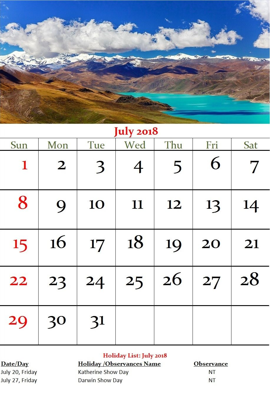 july 2018 australia holidays wall calendar