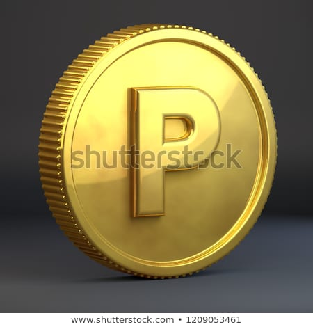 Golden Coin With Letter P Uppercase 3d Render Casino Coin Isolated On Black Background Golden Coin Lettering Stock Illustration