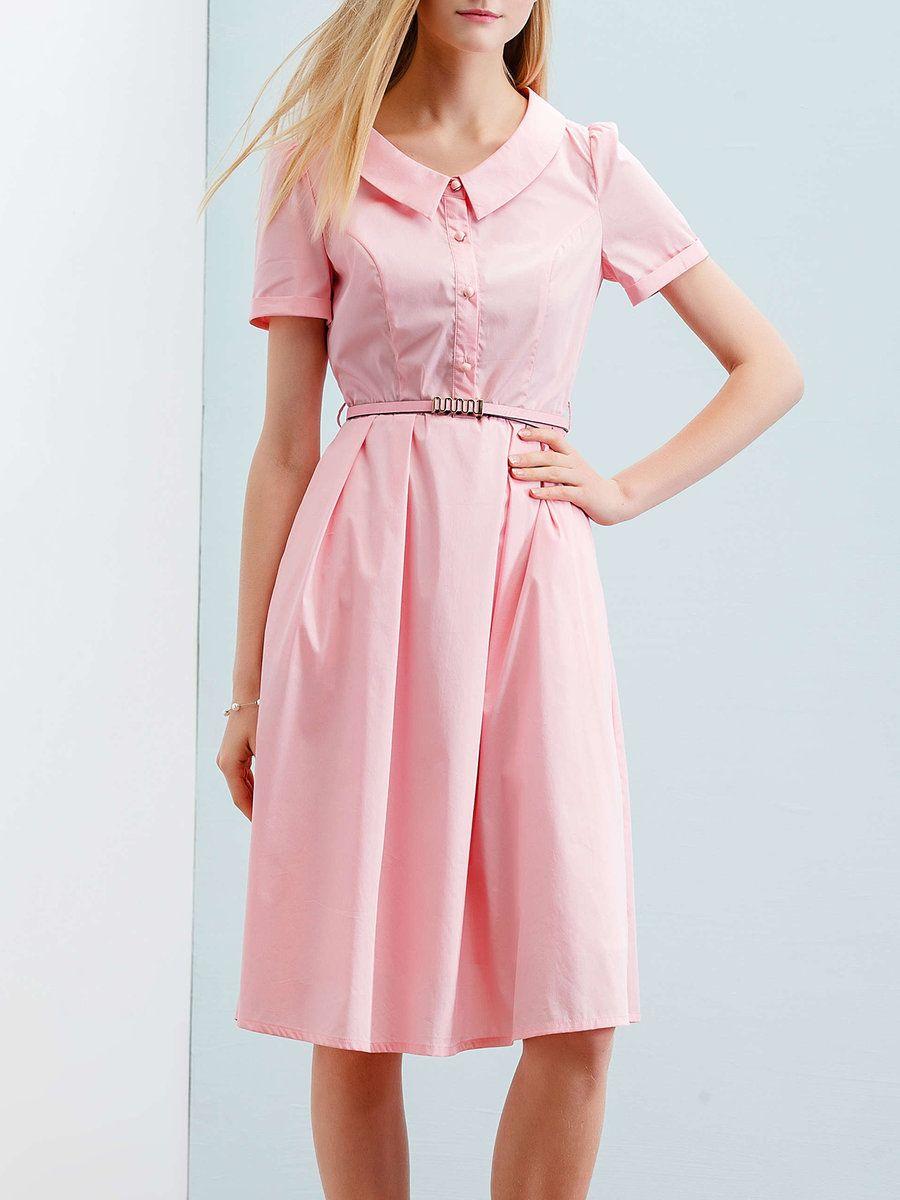 Adorewe stylewe midi dressesdesigner wifing shirt collar aline