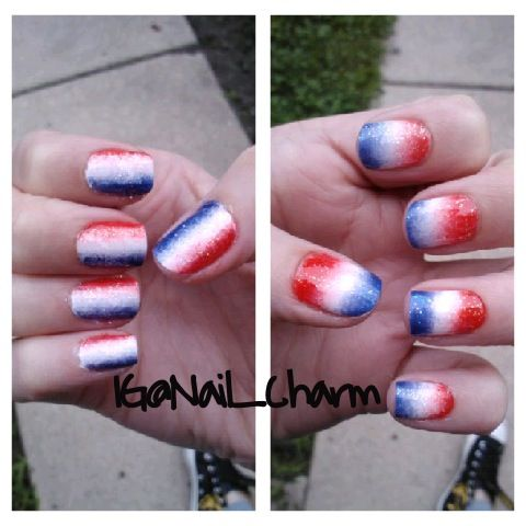 My recent 4th of july nails done by me.