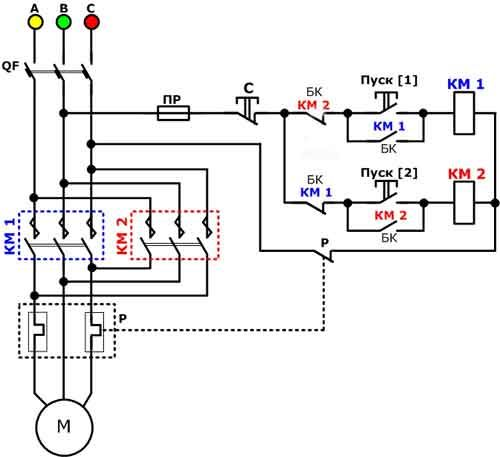Схема подключения асинхронного двигателя с реверсом