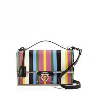 22a179683550 30% off Salvatore Ferragamo - Shoulder Bag Aileen Frame Rainbow Stripes Nero  Multi -  1575  salvatoreferragamo  shoulderbag  stripes  rainbow