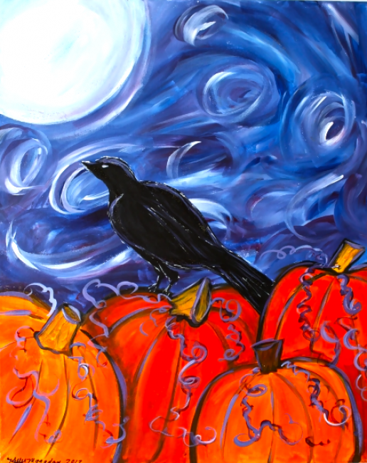 Could work for a Starry night pumpkin patch