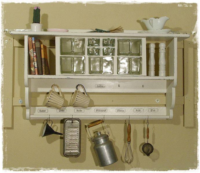 wandregal k chenregal shabby style von ansolece auf aus der holzwerkstatt. Black Bedroom Furniture Sets. Home Design Ideas