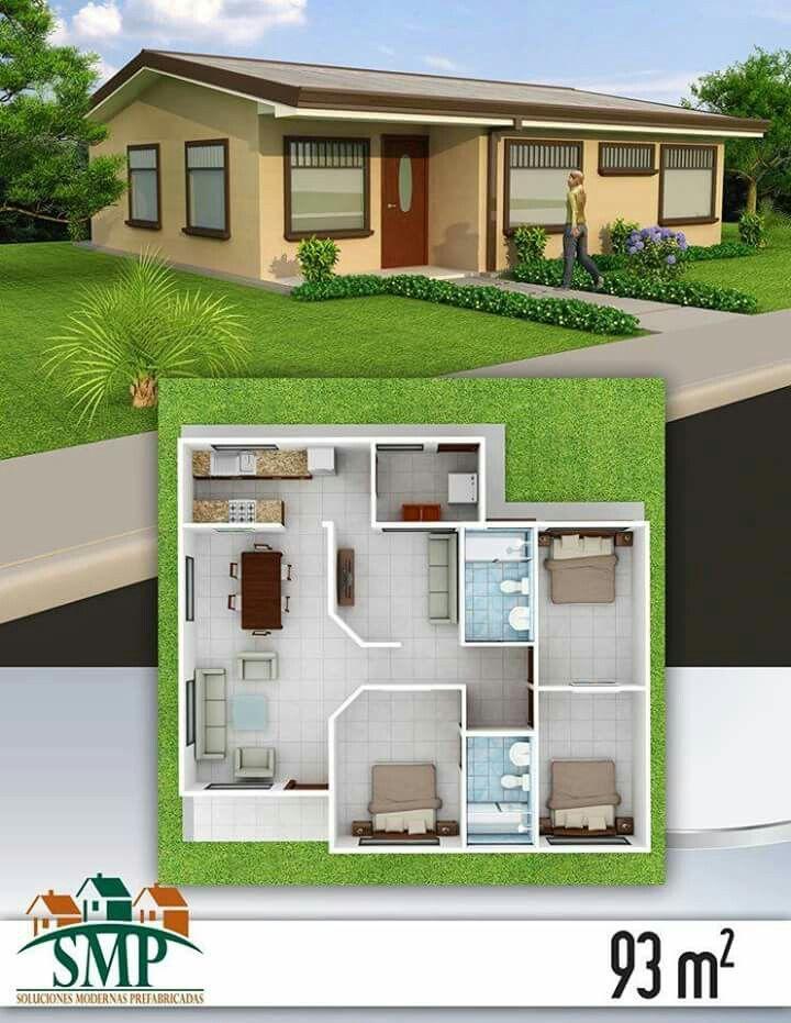Distribucion casa 92m2 casas modelos y planos for Distribucion de casas modernas