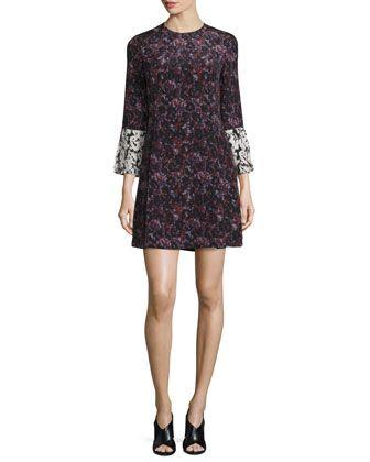 Bell-Sleeve Floral Silk Mini Dress, Ink/Multicolor by 10 Crosby Derek Lam at Bergdorf Goodman.