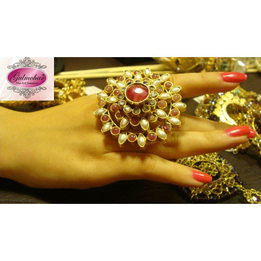 Floral Kundan Ring Design Code E 44 in Pakistan