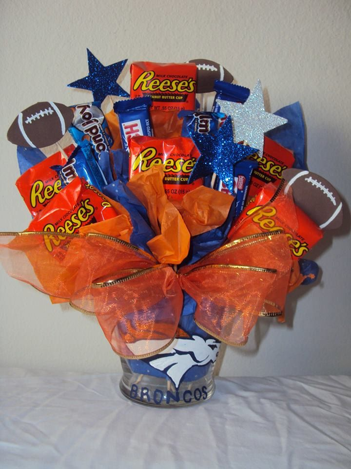 Denver Broncos chocolate candy bouquet basket gift, hand painted vase logo by CandyBouquetsBaskets on Etsy