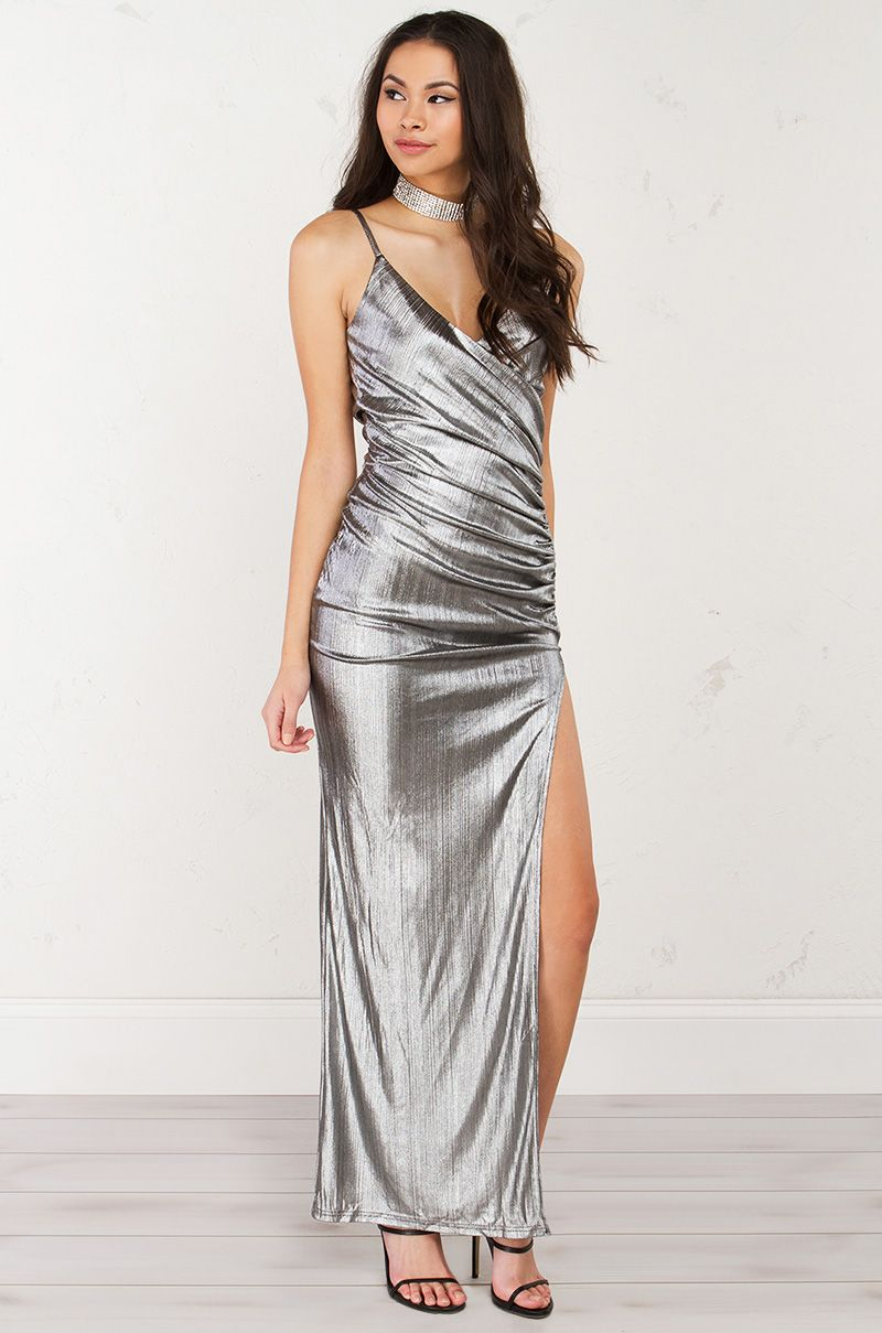 Metallic side slit dress in silver and gold akira pinterest