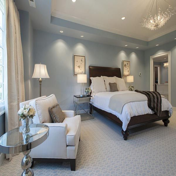 Window Treatments Interiordesign: Light Blue Master Bedroom With Sitting Area #bedroom