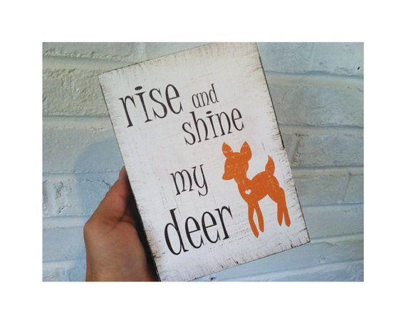 Rise And Shine Woodblock, Childrenu0027s Art Woodblock, Deer Nursery Art, Kids  Art And Decor, Art Block, 5x7 Woodblock, Woodland Nursery Print