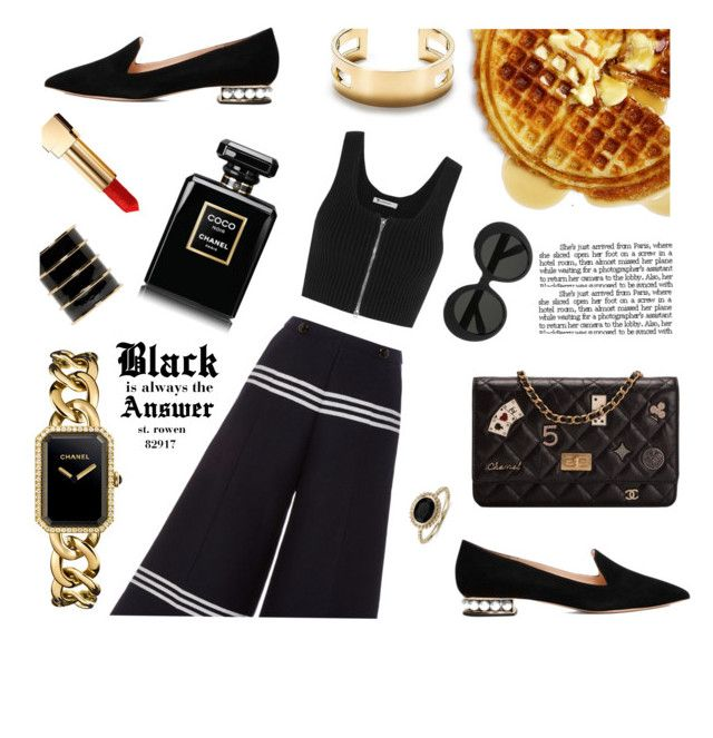 """Black is Always The Answer"" by kshelmarizaldi ❤ liked on Polyvore featuring Chanel, Nicholas Kirkwood, Baum und Pferdgarten, T By Alexander Wang, Blue Nile, Balmain, Yves Saint Laurent, Linda Farrow and Tiffany & Co."