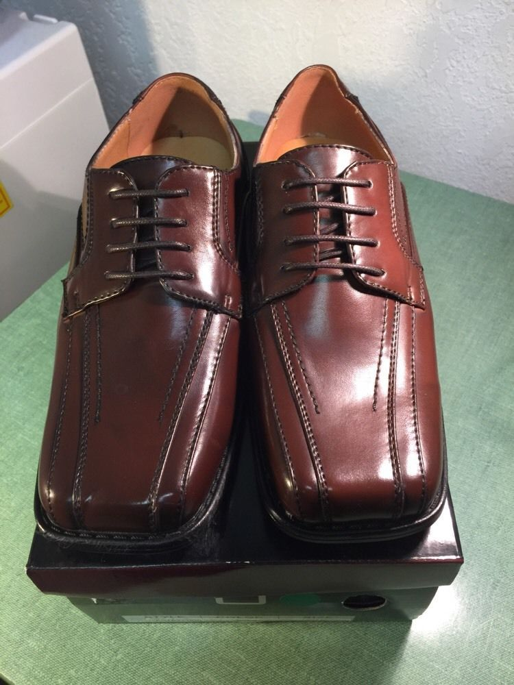 Bolano boys new solid brown dress shoes with stitching