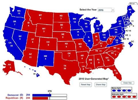 Electoral College Map Projection Hillary Clinton GOP - 2016 predictions us map