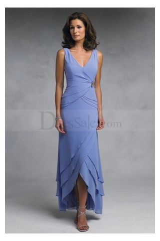 V-neck Sleeveless Blue Ankle Length Chiffon Mother Of Brides Dresses