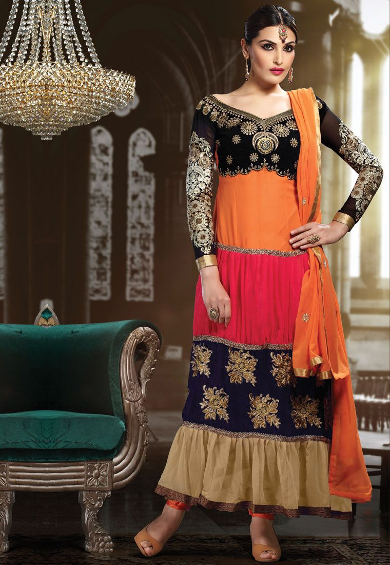 Blackpeachorange u beige color embroidery patch lace border with
