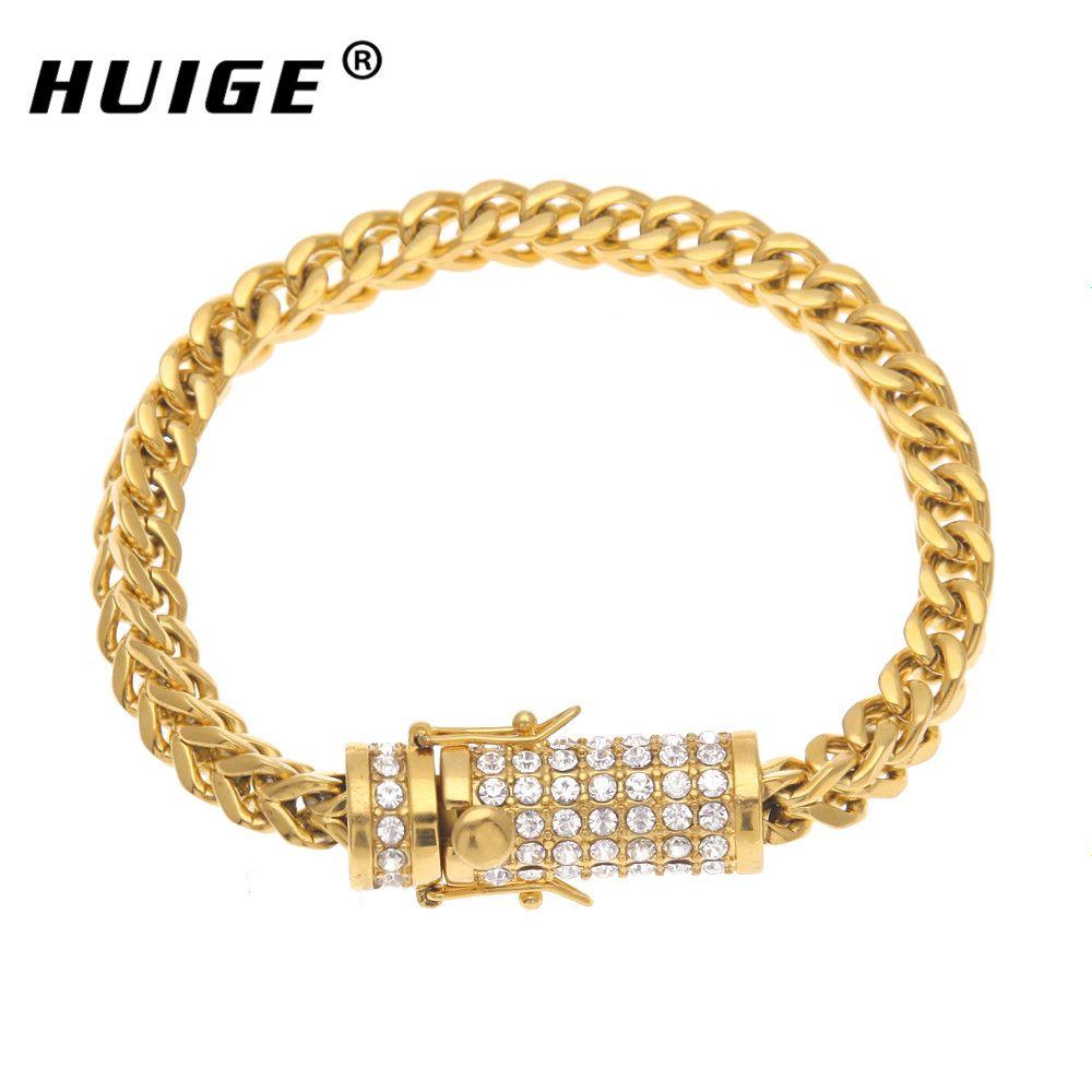 Stainless steel keel bracelet gold silver men link cuban bracelet
