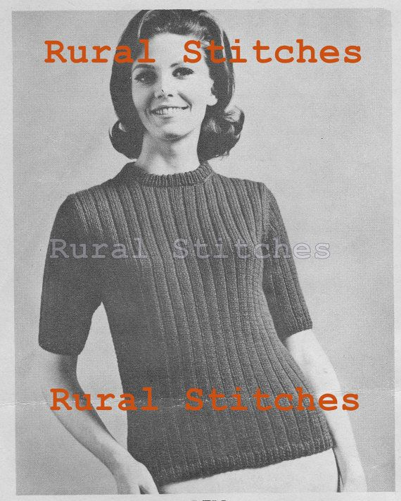 1960s  poor boy sweater. Vintage Woman s Short-Sleeve Sweater Pattern by  RuralStitches 0e027720a
