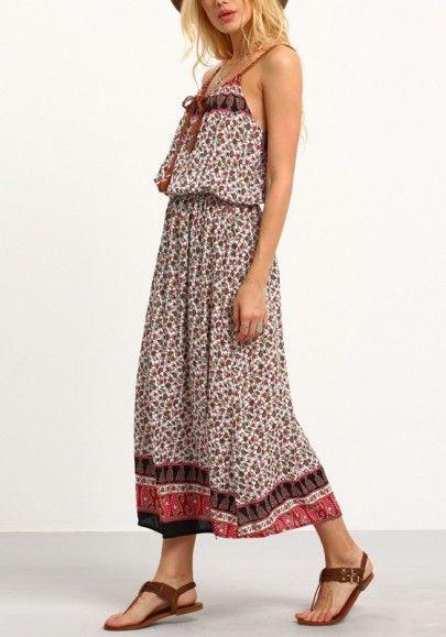 Dress Long Spaghetti Strap Top Women Boho Maxi V Neck Paisley Patchwork Printed