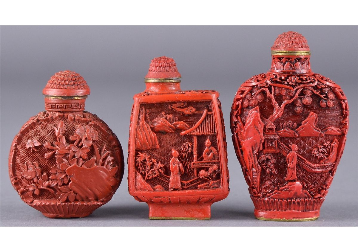 Set 3 Chinese Cinnabar Lacquer Snuff Bottles Snuff Bottle Cinnabar Bottle