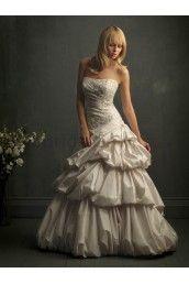 Taffeta Softly Curved Neckline Ball Gown Wedding Dress