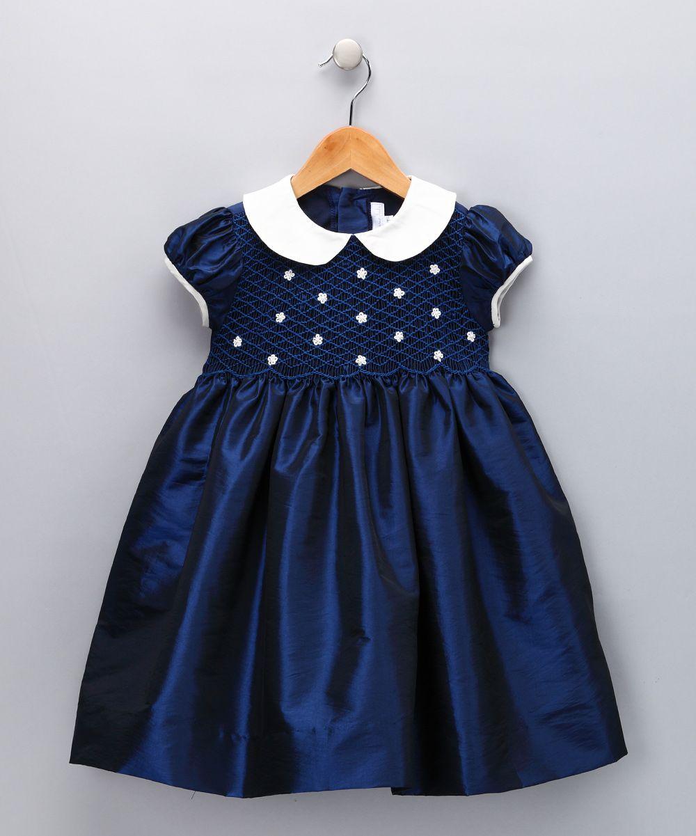 53eadca36147 Navy   Ivory Daisy Smocked Dress - Infant