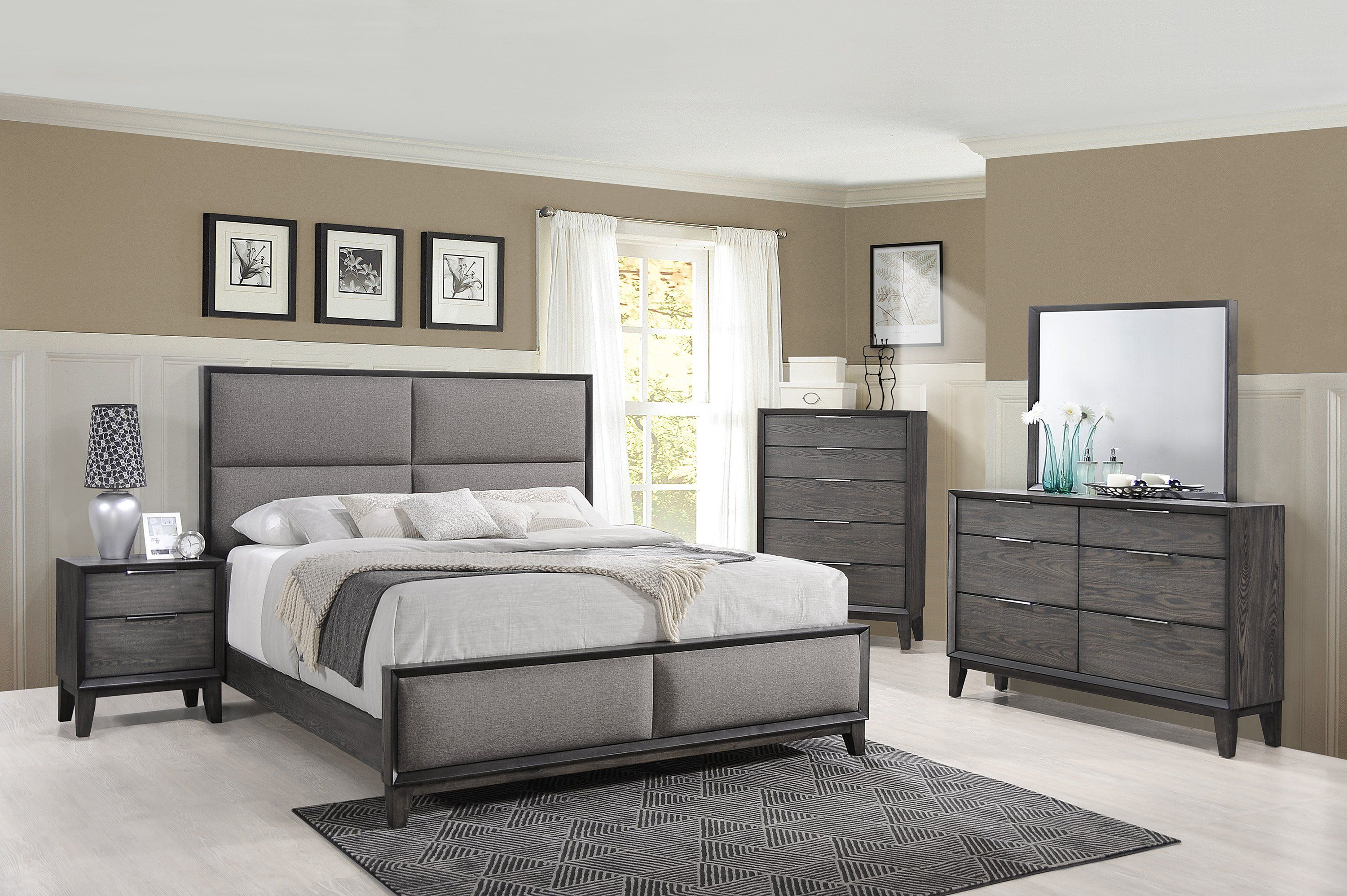 Best Contemporary Ash Gray Queen Upholstered Bed Florian 400 x 300