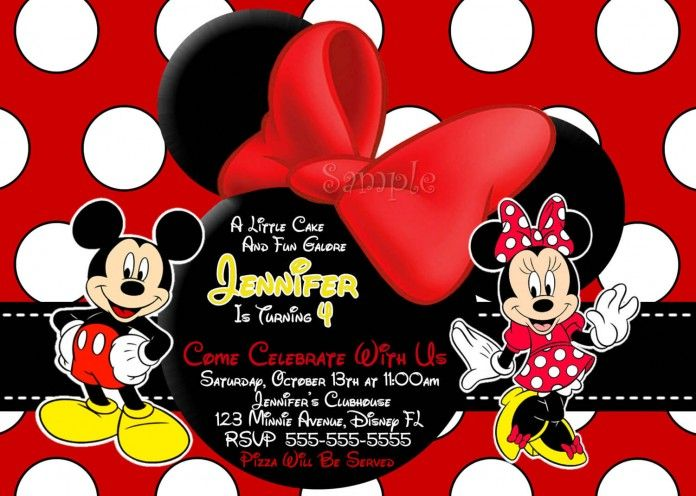 Fashionable Mickey Mouse Party Invitation Design Ideawith Miceky And Minnie  Mouse Motive And Red Background With
