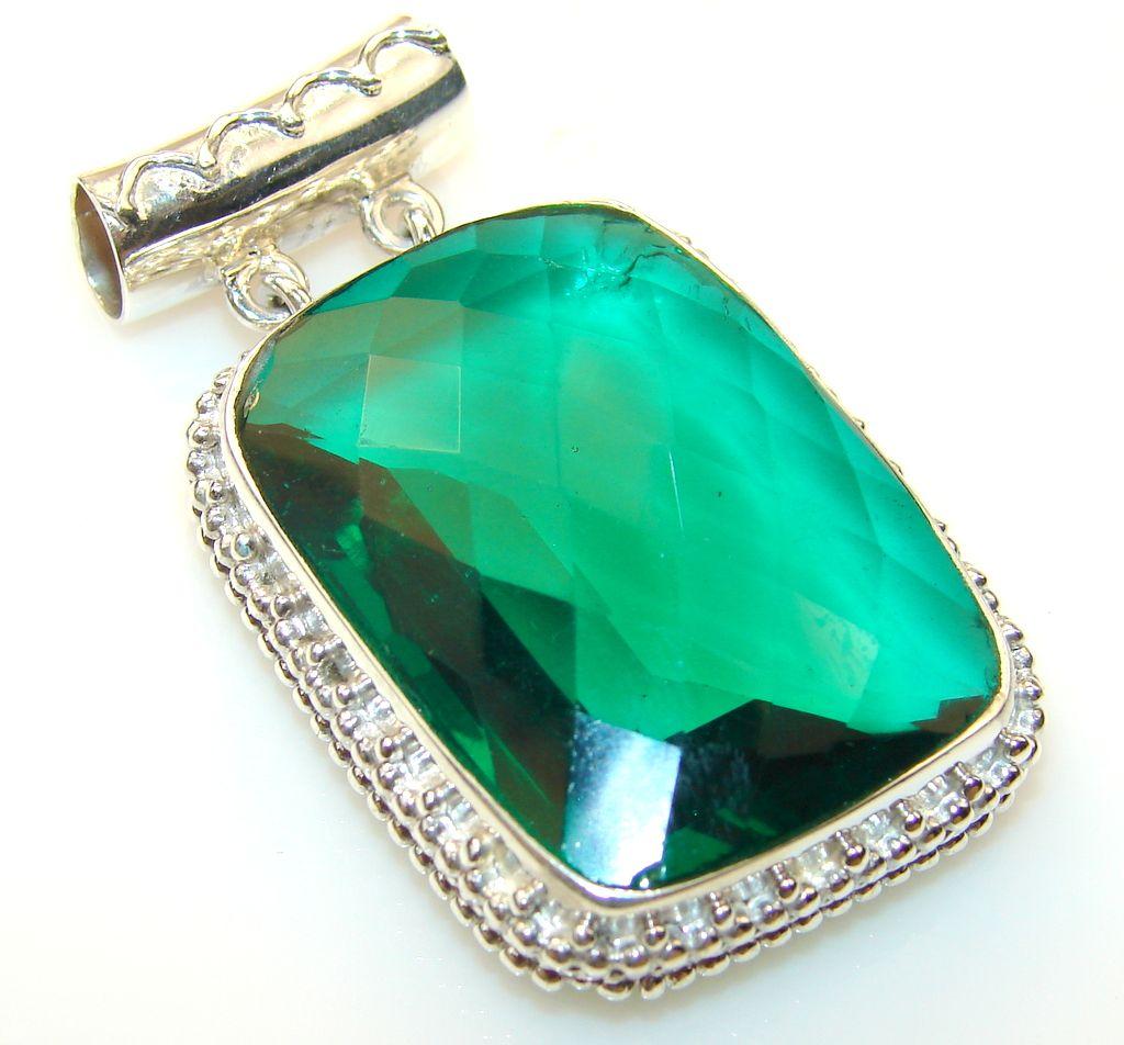 $81.25 Prestige Chrome Diopside Quartz Sterling Silver Pendant at www.SilverRushStyle.com #pendant #handmade #jewelry #silver #quartz
