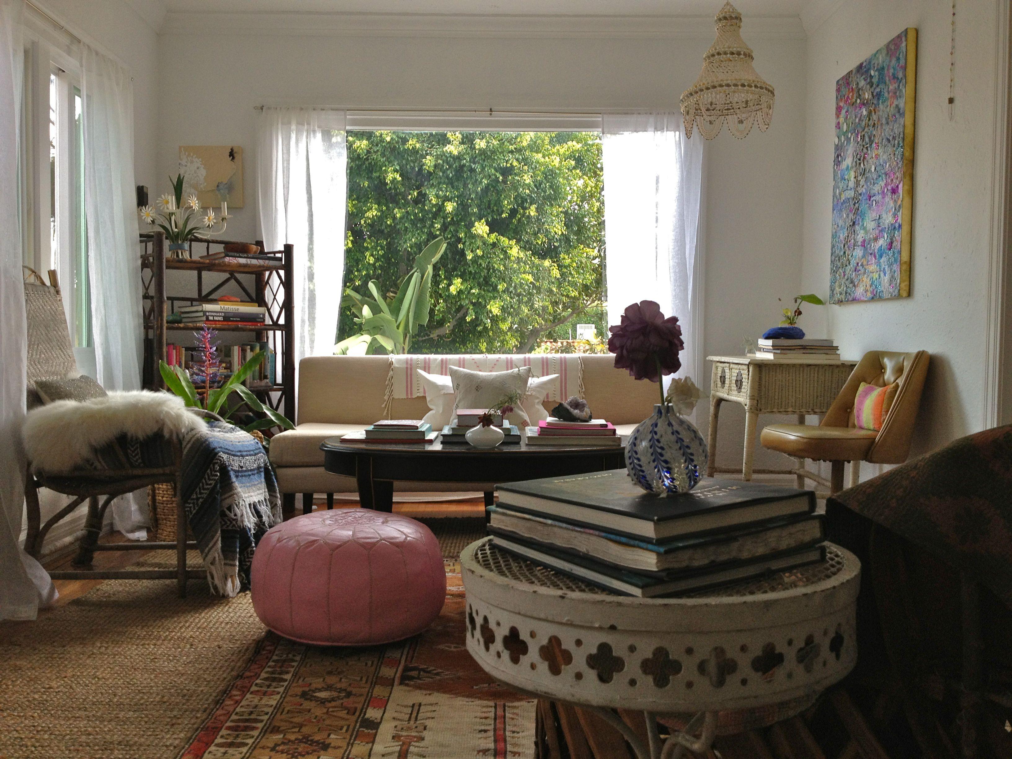 my earthy bohemian livingroom in LA shell hanging lamp pink