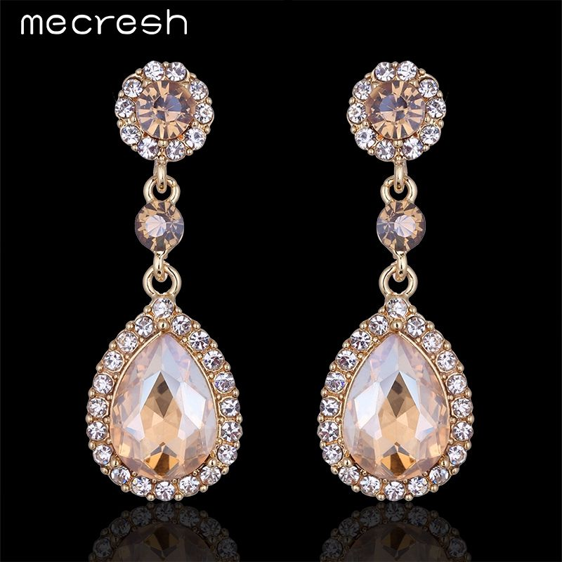 Champagne Colored Bridal Earrings