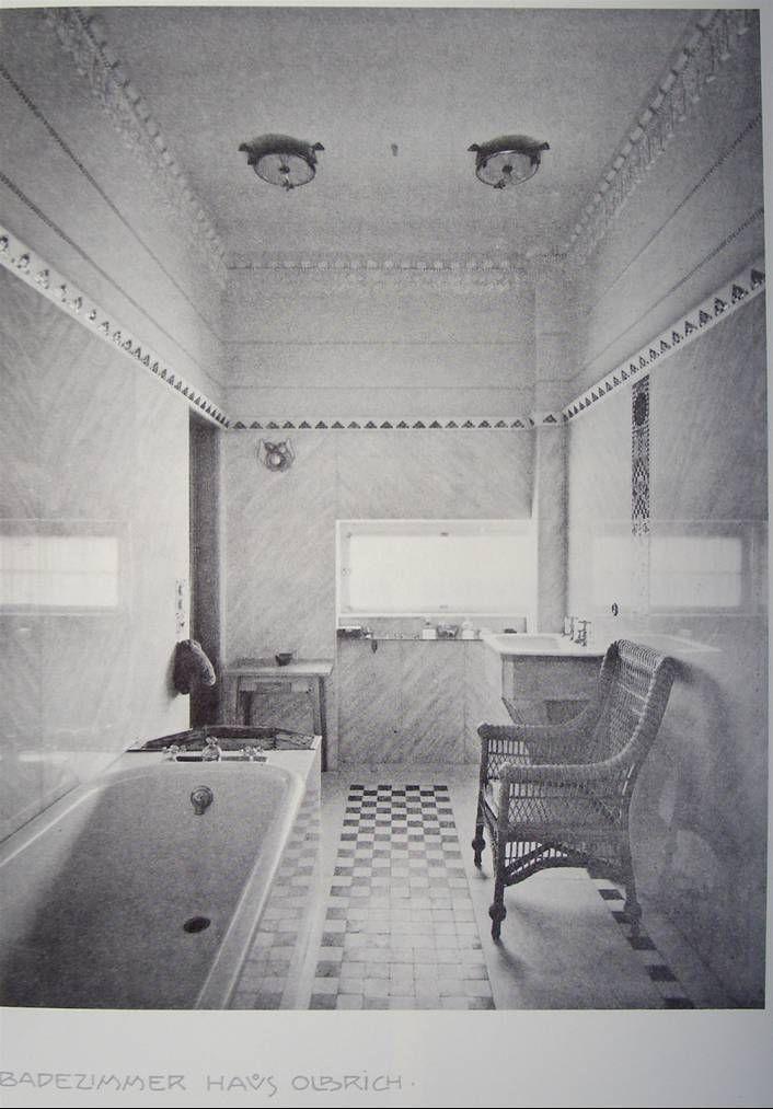 J m olbrich salle de bains de la maison olbrich mathildenh he k nstlerkolonie 1901 the for Salle de bain art nouveau