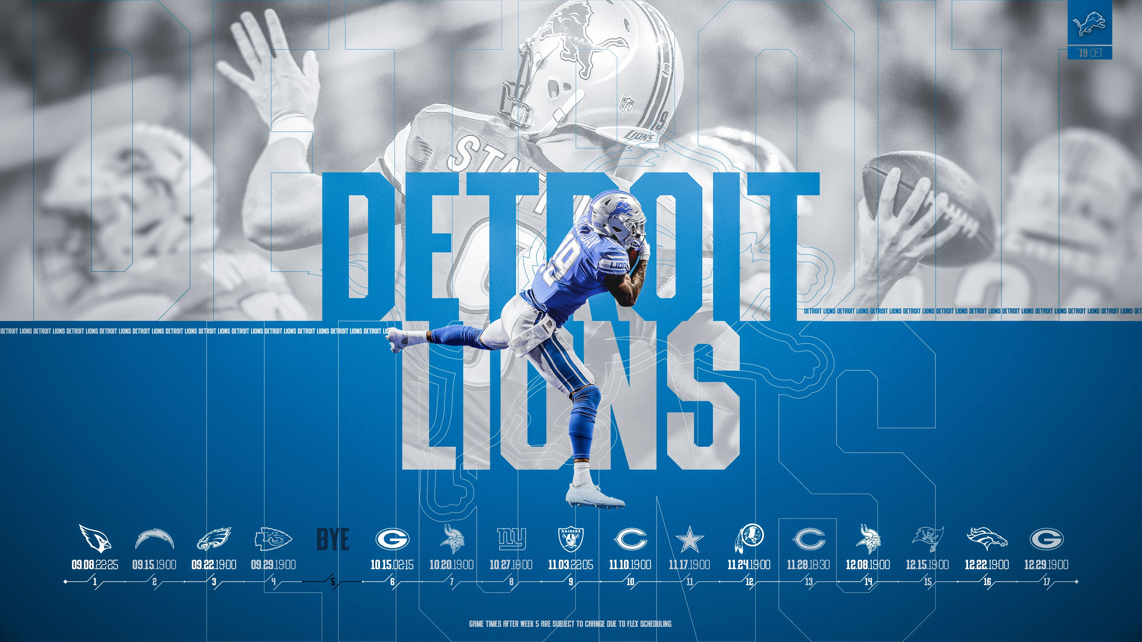 Schedule Wallpaper For The Detroit Lions Regular Season 2019 Central European Time Made By Tobler Gergo Tgersdiy Detroit Lions Detroit Lions