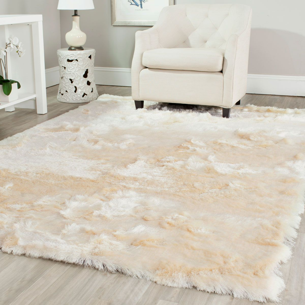 White Lush Pile Shag Paris Collection Safavieh Com Cool Rugs Polyester Rugs Family Room Decorating