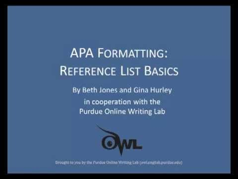 Purdue Owl Apa Formatting Reference List Basics A Video About