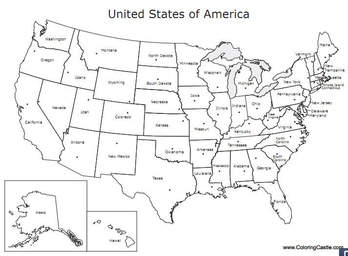 Just For Fun U S Map Printable Coloring Pages United States