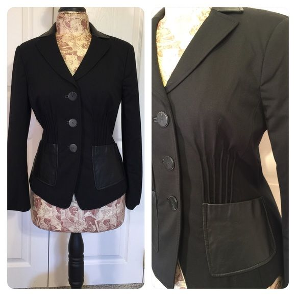 W Worth blazer W by Worth black blazer. Leather collar and pockets. Cool pleated front. Figure flattering fitted design. Classic blazer with fun twists make this a statement black blazer. W Worth Jackets & Coats Blazers