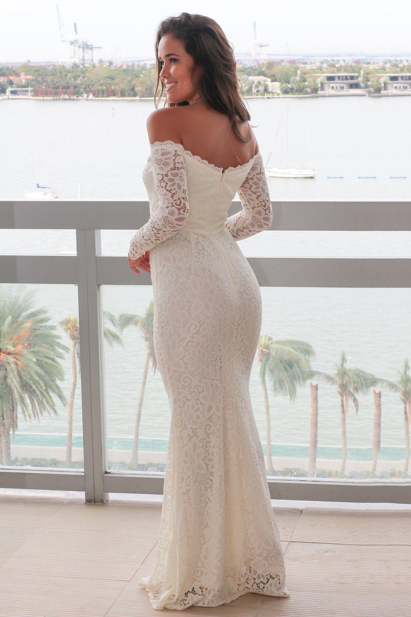 Beige Crochet Off Shoulder Maxi Dress