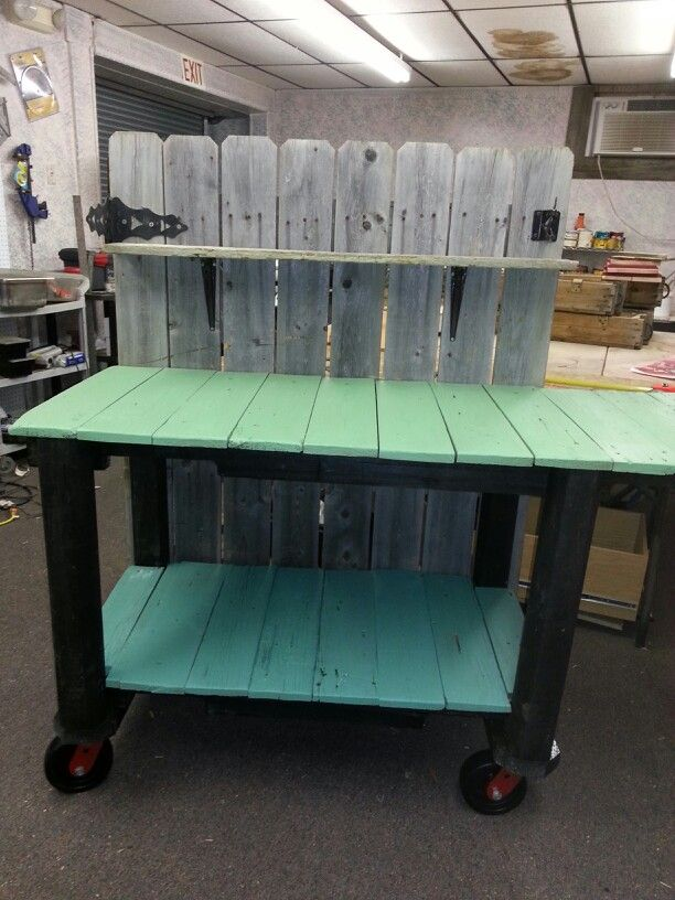 Outdoor Bbq Prep Table On Casters.