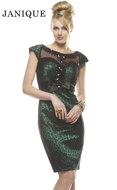 Gorgeous emerald green and black cocktail dress, style no. D270