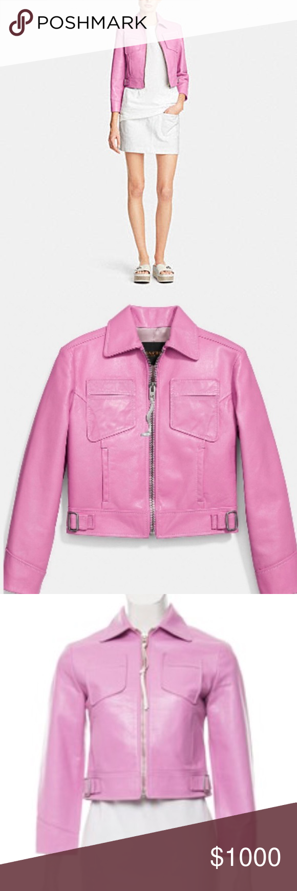 Coach pink leather jacket NWT Pink leather jacket, Pink